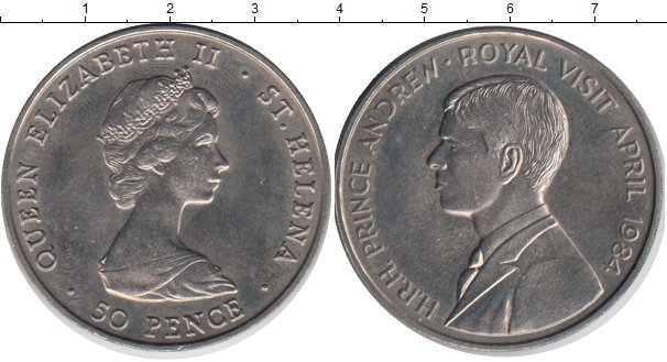 Картинка Монеты Остров Святой Елены 50 пенсов Медно-никель 1984