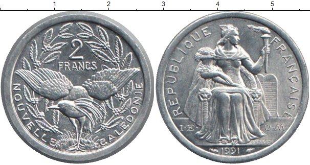 Картинка Монеты Новая Каледония 2 франка Алюминий 1991