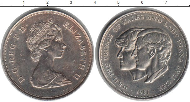 Картинка Монеты Великобритания 25 пенсов Медно-никель 1981