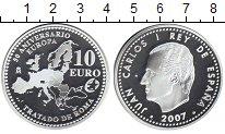 Изображение Монеты Испания 10 евро 2007 Серебро Proof- Хуан Карлос I. 50-ле
