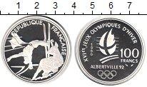 Изображение Монеты Франция 100 франков 1990 Серебро Proof Зимняя олимпиада 199
