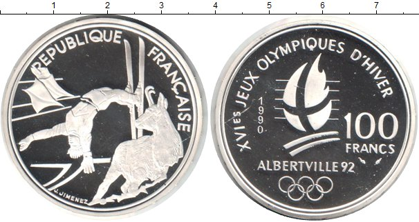 Картинка Монеты Франция 100 франков Серебро 1990
