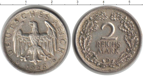 Картинка Монеты Веймарская республика 2 марки Серебро 1926