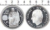 Изображение Монеты Испания 10 евро 2008 Серебро Proof- Хуан Карлос I. Альфо
