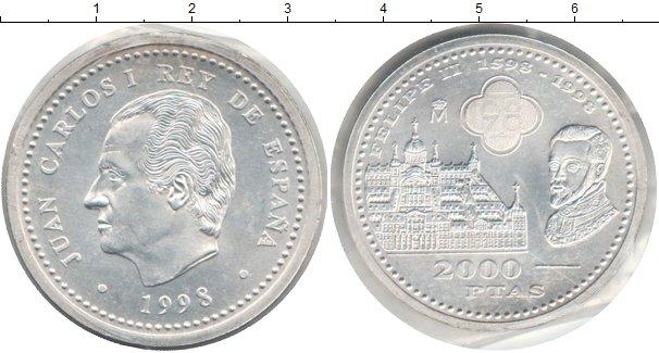 Картинка Монеты Испания 2.000 песет Серебро 1998