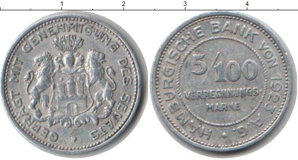 Картинка Монеты Гамбург 5/100 марки Алюминий 1923