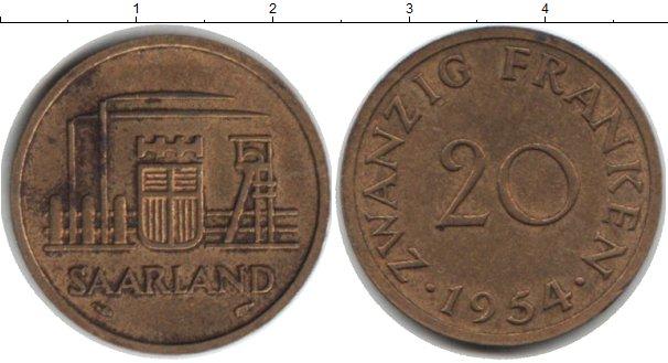 Картинка Монеты Саар 20 франков  1954