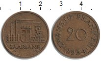 Изображение Монеты Германия Саар 20 франков 1954  XF