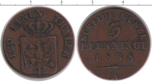 Картинка Монеты Пруссия 3 пфеннига Медь 1838