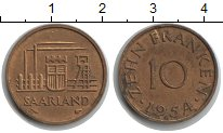 Изображение Монеты Саар 10 франков 1954  XF