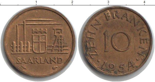 Картинка Монеты Саар 10 франков  1954