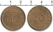 Изображение Монеты Саар 20 франков 1954  XF