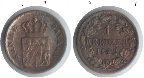 Картинка Монеты Бавария 1 крейцер Серебро 1842