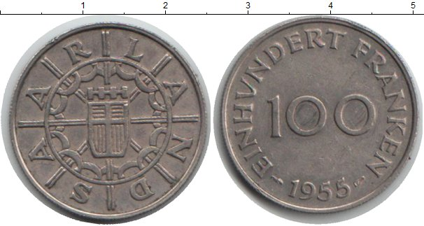 Картинка Монеты Саар 100 франков Медно-никель 1955