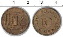 Изображение Монеты Германия Саар 10 франков 1954  XF