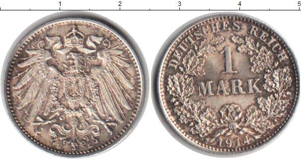 Картинка Монеты Германия 1 марка Серебро 1914