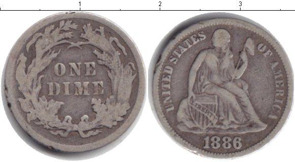 Картинка Монеты США 1 дайм Серебро 1886