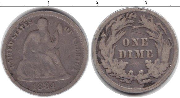 Картинка Монеты США 1 дайм Серебро 1884
