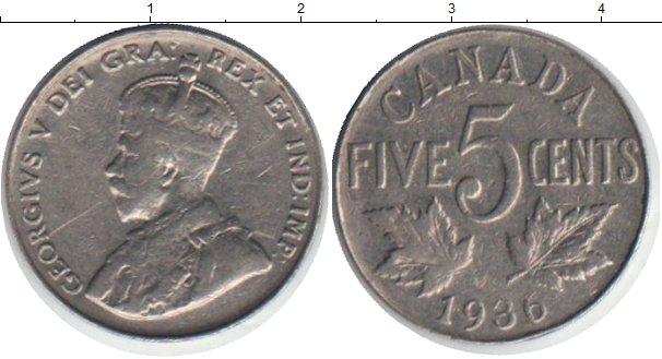 Картинка Монеты Канада 5 центов Медно-никель 1936