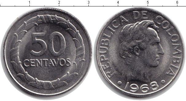 Картинка Монеты Колумбия 50 сентаво Медно-никель 1968