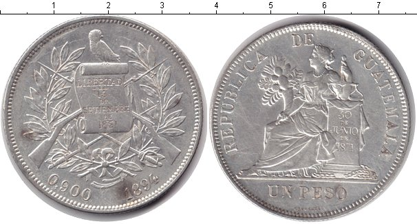 Картинка Монеты Гватемала 1 песо Серебро 1894