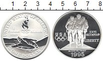 Изображение Монеты США 1 доллар 1995 Серебро Proof- Велоспорт