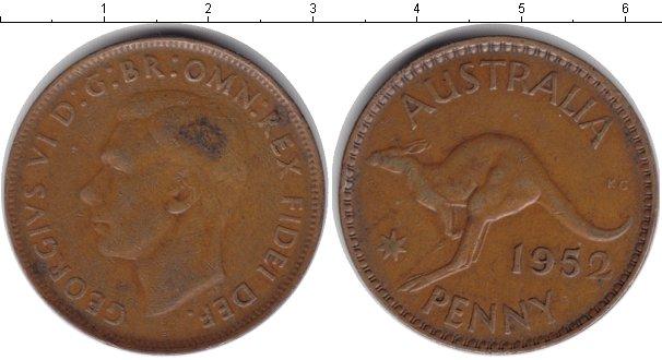 Картинка Монеты Австралия 1 пенни Медь 1952