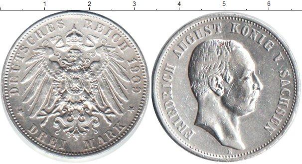 Картинка Монеты Саксония 3 марки Серебро 1909