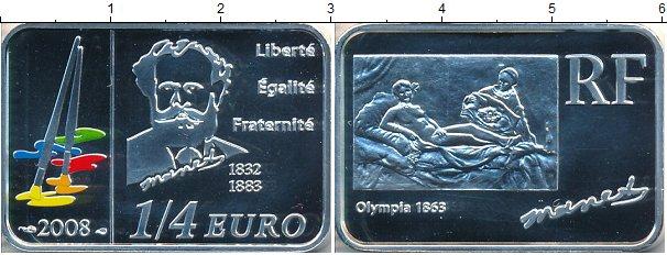 Картинка Монеты Франция 1/4 евро Серебро 2008