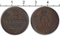 Изображение Монеты Германия Ганновер 2 пфеннига 1855 Медь XF