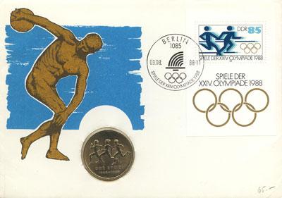 Изображение Подарочные монеты ГДР Олимпийские Игры 1988 Медно-никель UNC Подарочная монета по