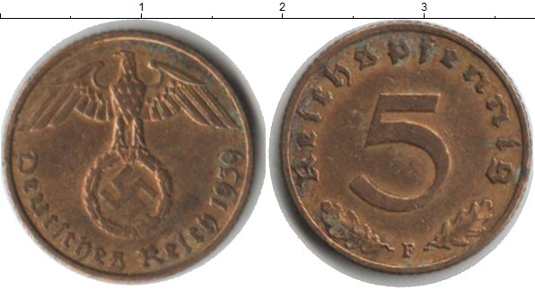 Картинка Монеты Третий Рейх 5 пфеннигов  1939