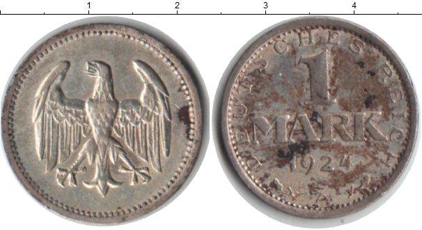 Картинка Монеты Веймарская республика 1 марка Серебро 1924
