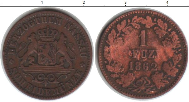 Картинка Монеты Нассау 1 крейцер Медь 1862