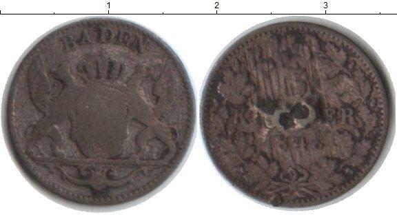 Картинка Монеты Баден 3 крейцера Серебро 1848