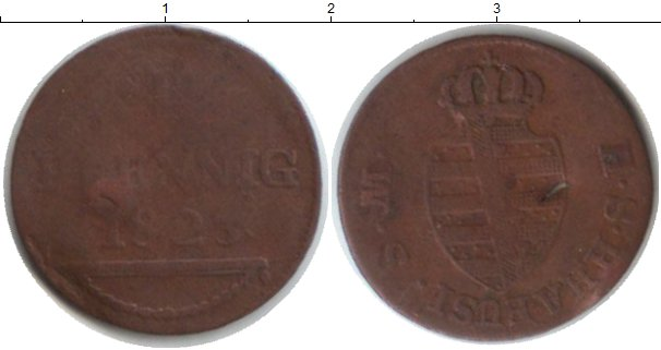 Картинка Монеты Саксен-Хильдбургхаузен 1 пфенниг Медь 1823