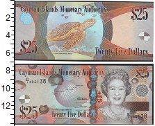 Изображение Боны Каймановы острова 25 долларов 0  UNC- Елизавета II. Черепа