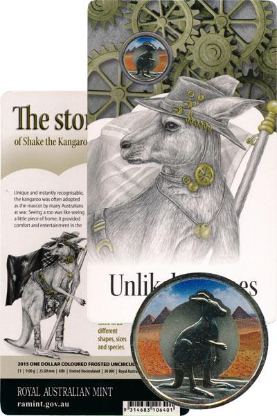 Изображение Подарочные монеты Австралия Неназванные герои войны, Кенгуру по имени Шейк, 2015  AUNC `Данный набор входит