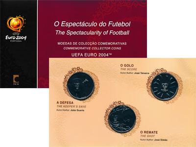 Изображение Подарочные монеты Португалия Зрелища футбола 2004 Серебро UNC Набор посвящен кубку