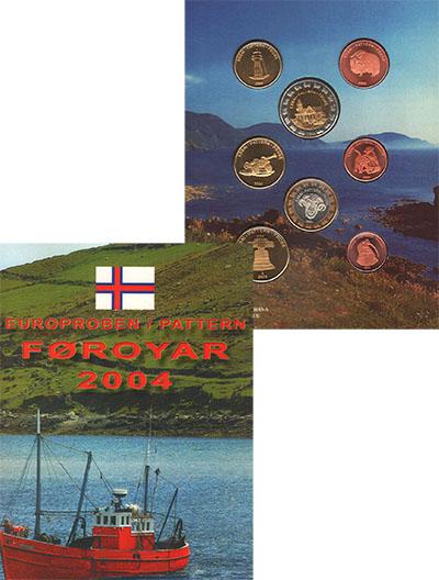 Изображение Подарочные монеты Фарерские острова Пробный выпуск монет 2004 года 2004  UNC Пробный выпуск монет