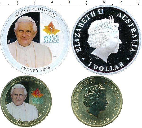 Картинка Подарочные монеты Австралия Всемирный день молодежи Серебро 2008