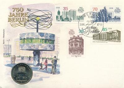 Изображение Подарочные монеты ГДР Площадь Александерплац 1987 Медно-никель UNC Представляем Вашему