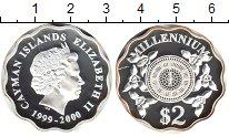 Изображение Монеты Каймановы острова 2 доллара 2000 Серебро Proof- Елизавета II. Миллен