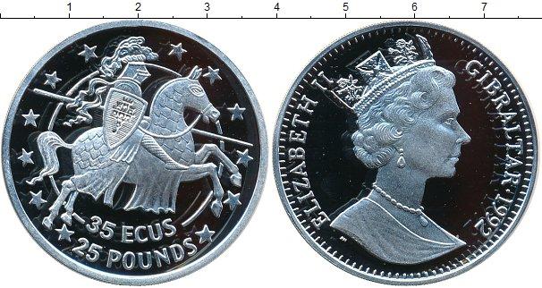 Картинка Монеты Гибралтар 35 экю Серебро 1992