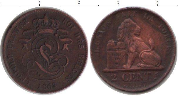 Картинка Монеты Бельгия 2 сантима Медь 1863