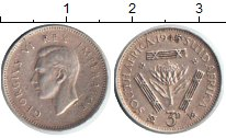 Изображение Монеты ЮАР 3 пенса 1945 Серебро