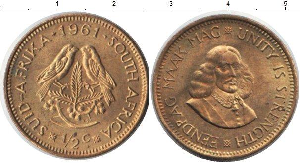 Картинка Монеты ЮАР 1/2 цента Медь 1961