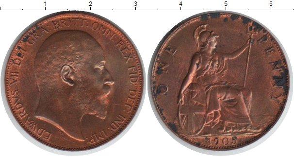 Картинка Монеты Великобритания 1 пенни Медь 1905