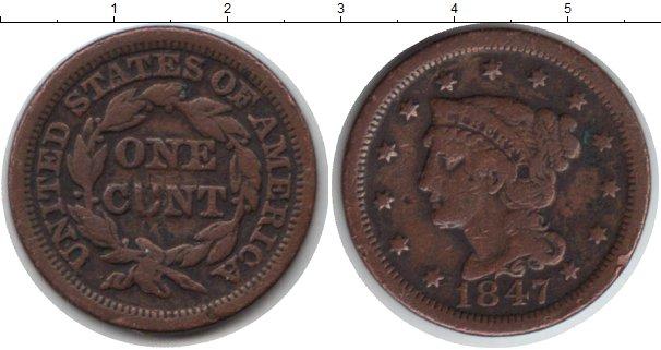 Картинка Монеты США 1 цент Медь 1847
