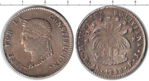Картинка Монеты Боливия 4 соля Серебро 1858